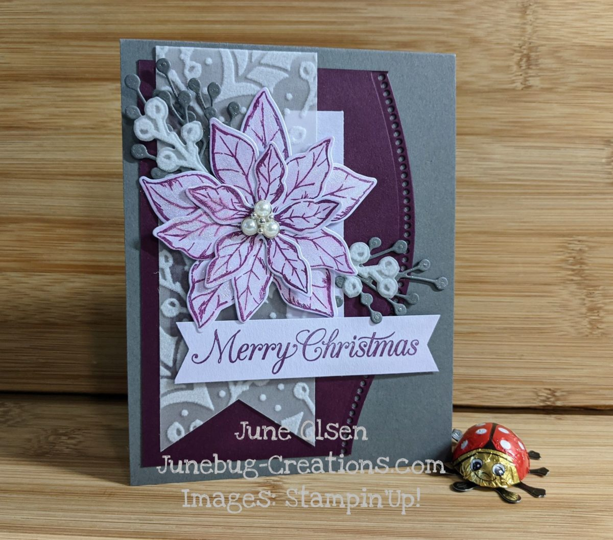 Junebug Creations Nontraditional Poinsettia card