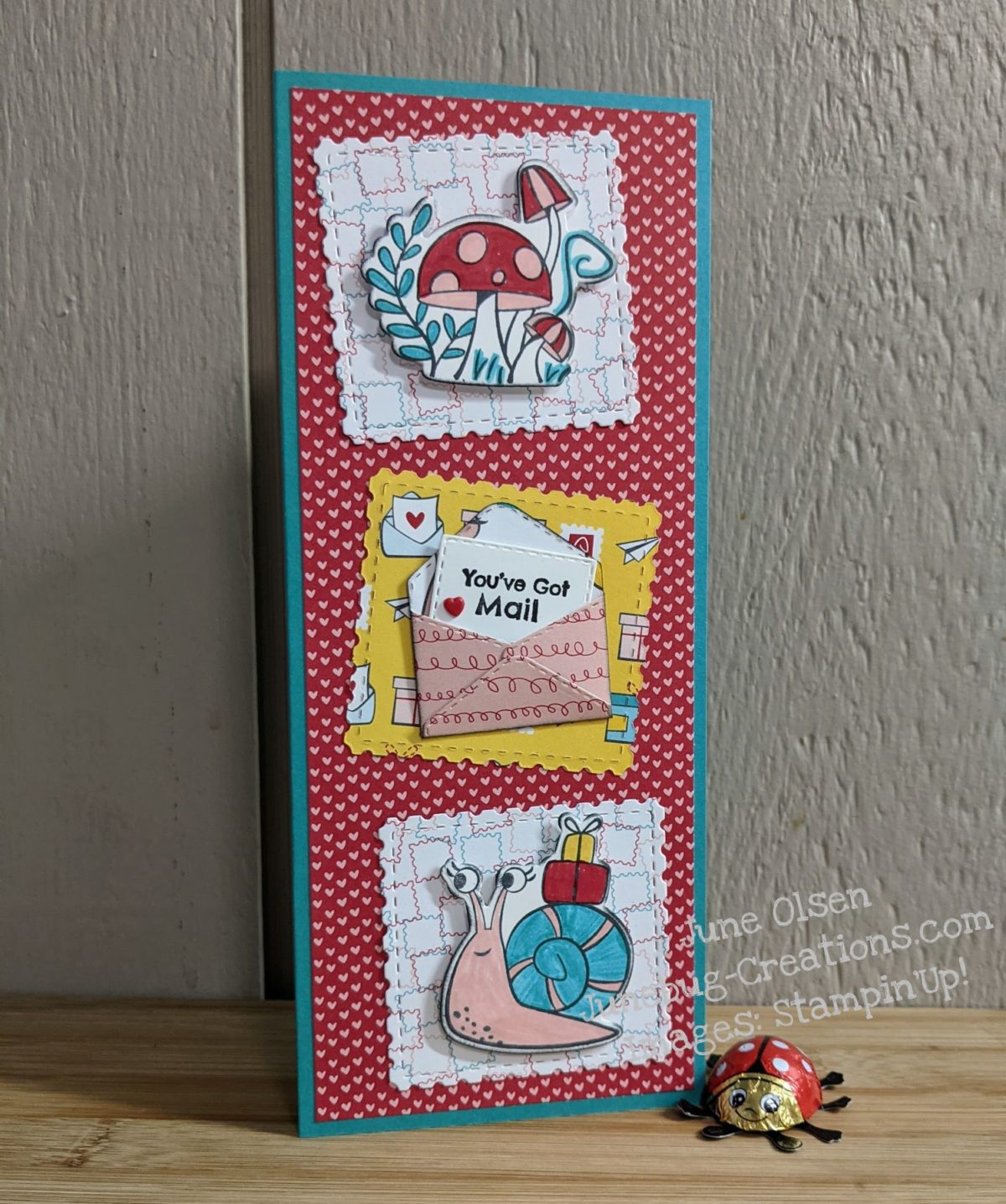 Junebug Creations Valentine's card using Snailed It stampset from Stampin' Up!
