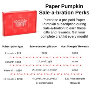 Savings for purchasing prepaid Paper Pumpkin kits and get free stuff from Sale-A-Bration