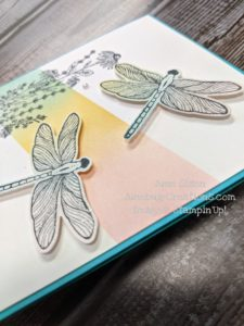 Junebug Creations ICS Blog hop card of Dragonfly Garden with Wink of Stella on the wings