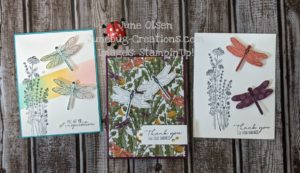 Junebug Creations Dragonfly Garden cardsusing Wink of Stella on the wings