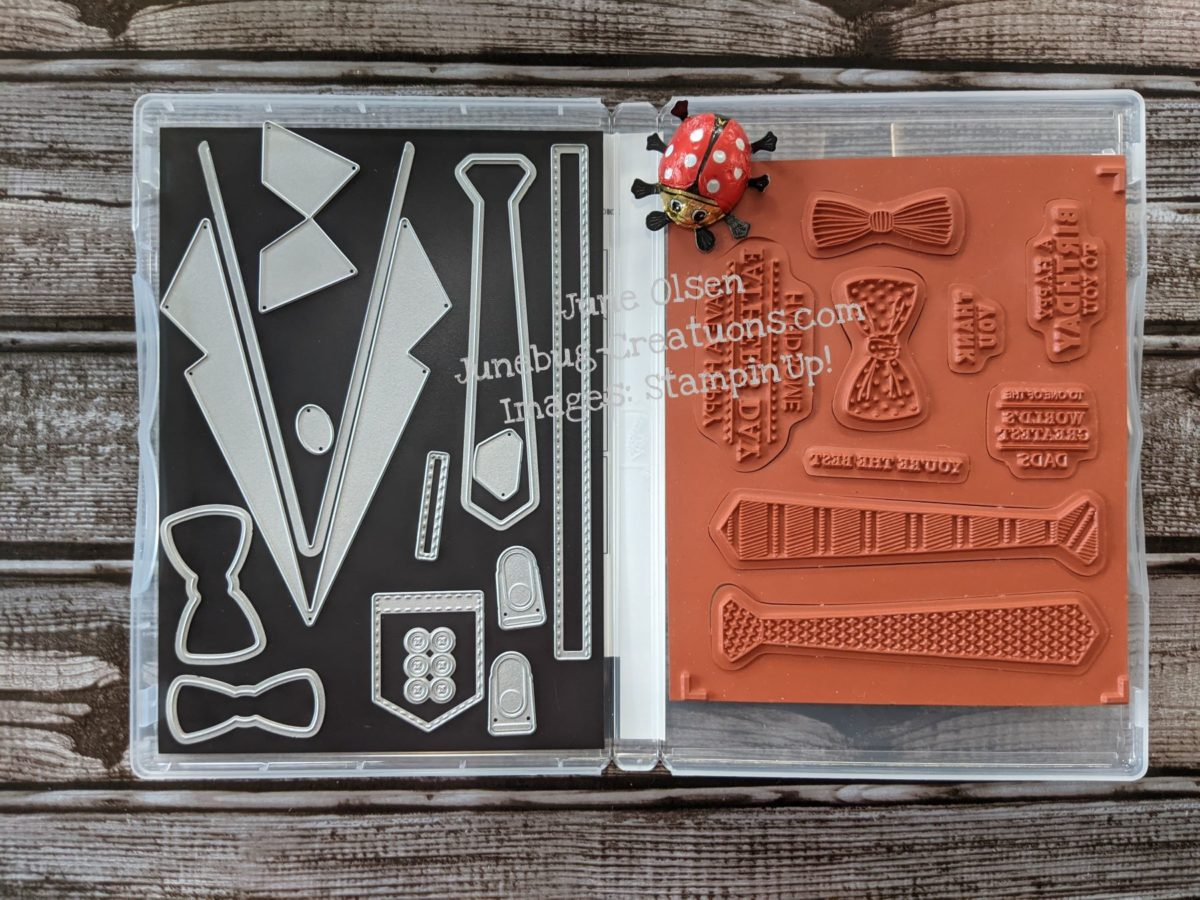 Junebug Creations ICS Bloghop Handsomely Suited Stamp set and dies