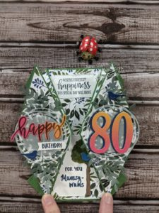 Junebug Creations Double Diamond fold card for my moms 80th birthday and GSF blog hop