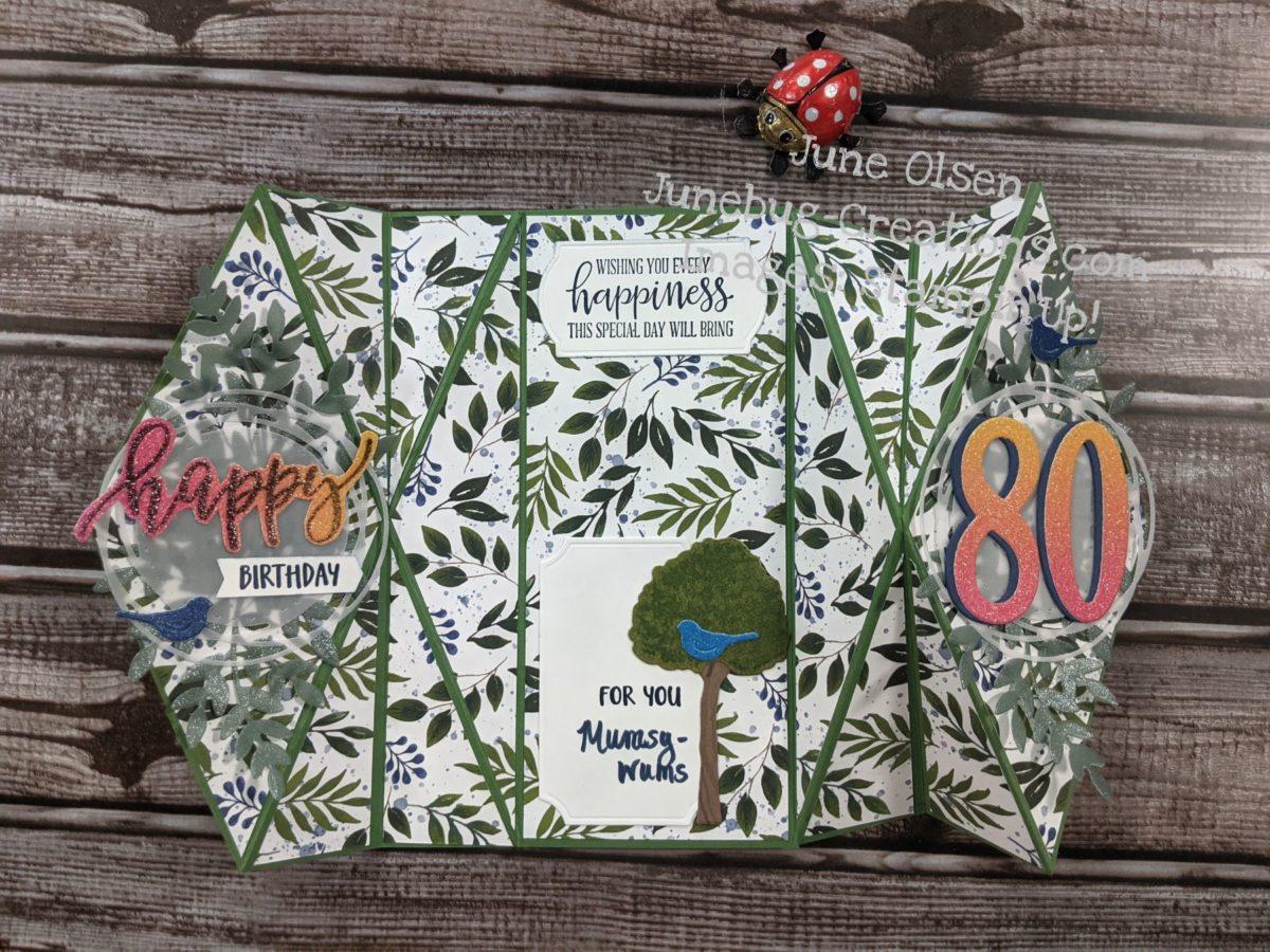 Junebug Creations Double Diamon Fold 80th birthday card for mom