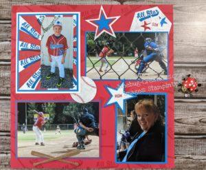 Junebug Creations PPPBlog Hop Scrapbook page for Batter Up!