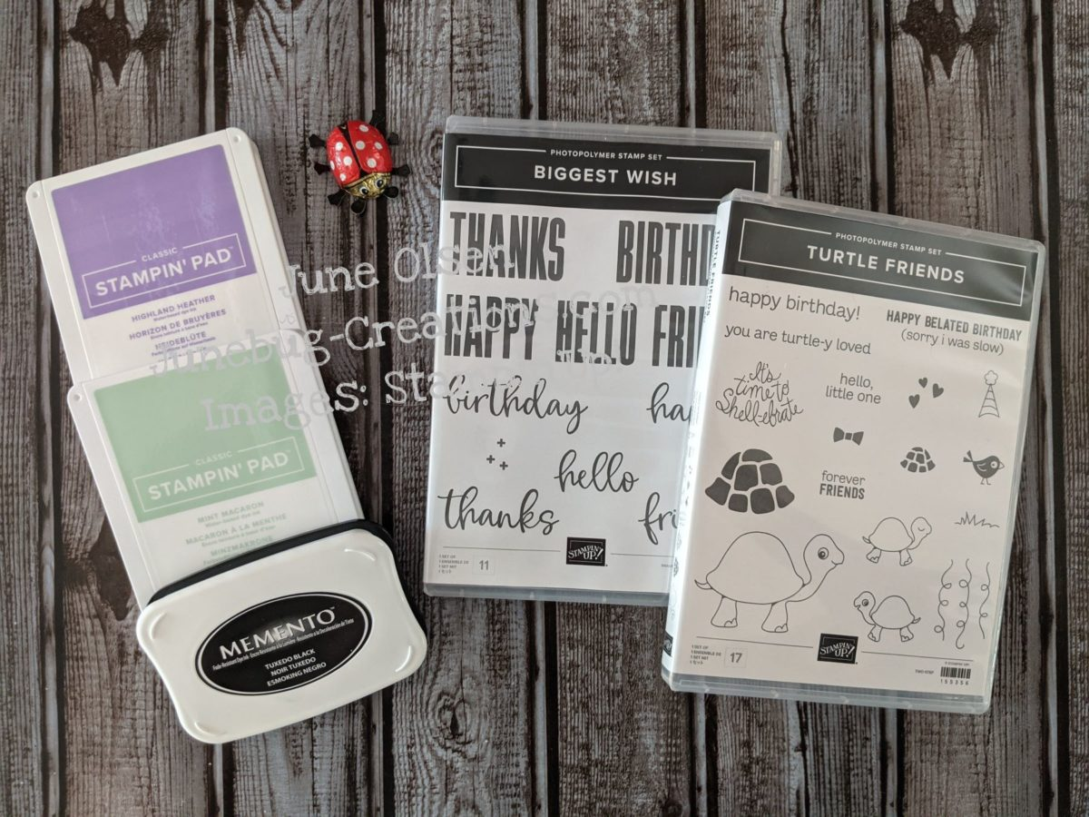 Junebug Creations stampsets and inkpads used for card
